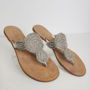 COCONUTS Embellished Bead Thong Flip Flops Sandals